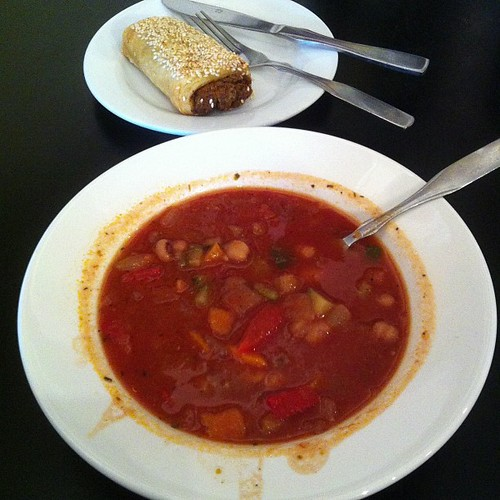 Minestrone soup and vegan roll. #yegfood by raise my voice