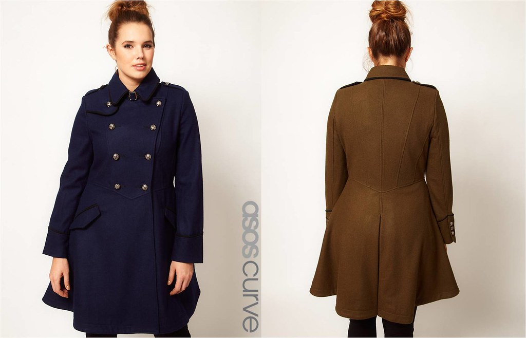 ASOS Curve Military Fit and Flare Coat