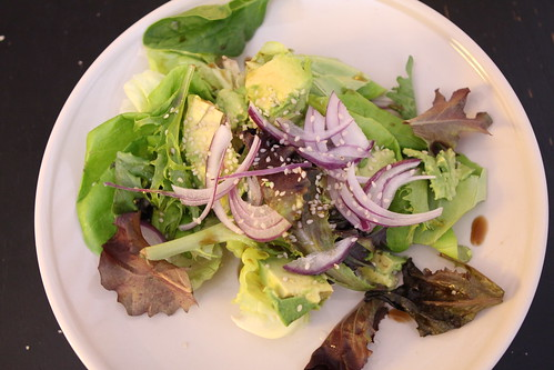Boston Bibb with Avocado, Red Onion, and Sesame Lime Dressing