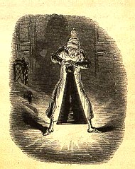 Charles Dickens: A Christmas Carol, wood engraving on p.73: Scrooge struggles with the ghost of Christmas Past