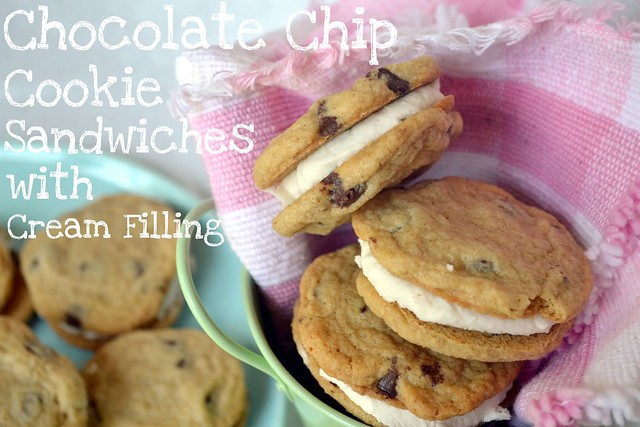 chocolate chip cookie sandwiches with cream filling