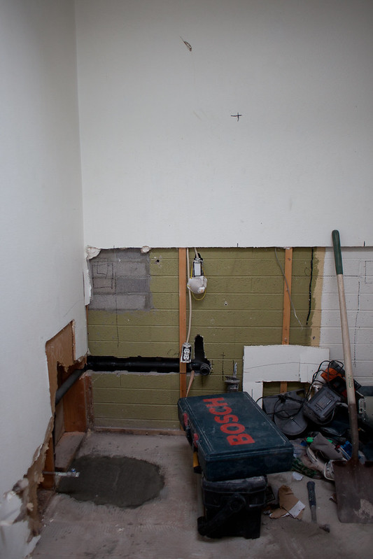 Vanity area plumbing move