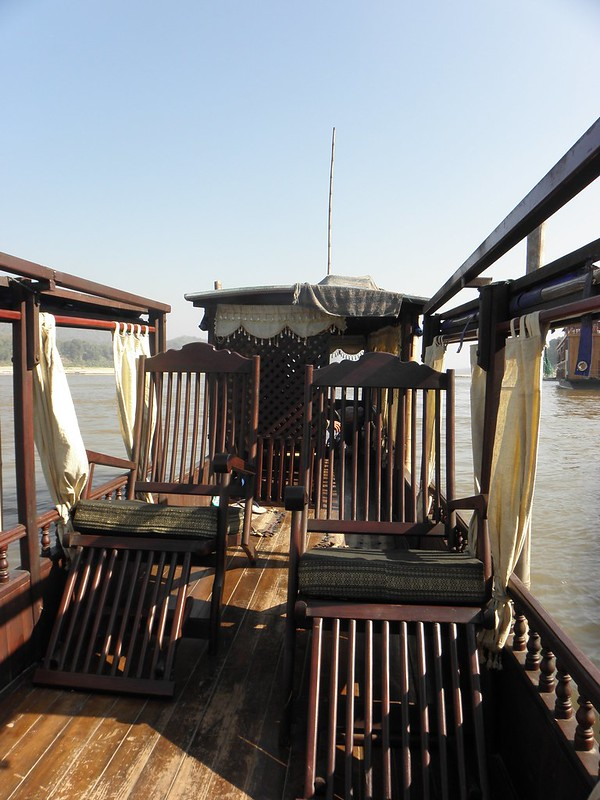 On board a long tail boat on the Mekong, Laos
