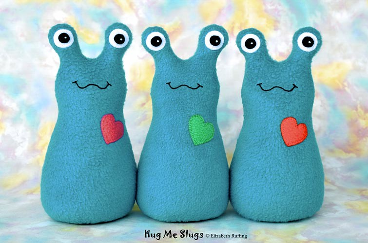 Slugterra and turquoise fleece Hug Me Slugs, original stuffed animal art toy by Elizabeth Ruffing