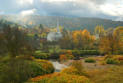 autumn trees sky usa fall church clouds america river vermont american stowe