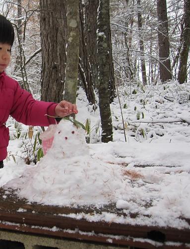 小さな雪だるまを作りました・・・サラサラ雪で固まらず変な雪だるまです・・ by Poran111
