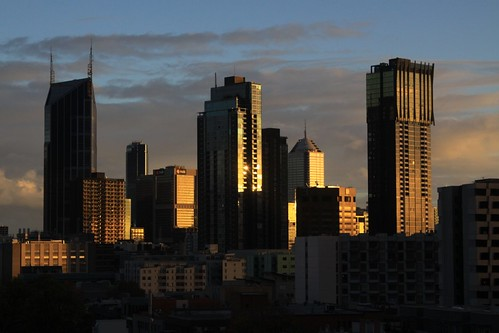 Sunset on the north end of the Melbourne CBD