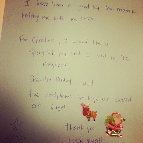 For this Santa letter I took dictation.