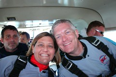 Skydive Jeni and Dean in the plane on the way up