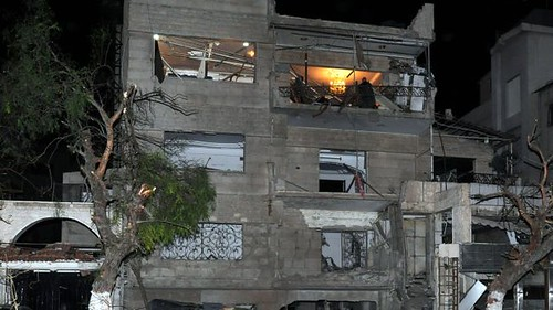 Damage in the Mazzeh District of Damascus, Syria in the aftermath of car bomb explosions. 40 people have so far been reported killed in the blast. by Pan-African News Wire File Photos