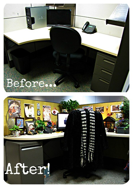 Before and After Cubicle Makeover Picture