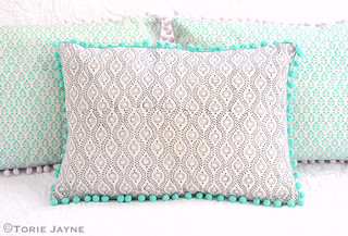 Hand made pom pom trim cushion tutorial