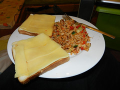 Nuked rice & veg, toast with cheese