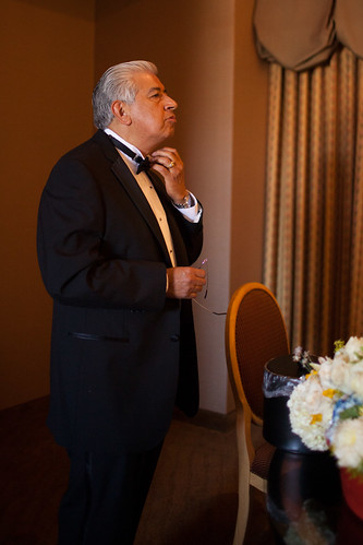 Dad fixing his tux