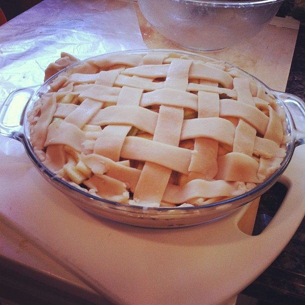 First ever attempt at a lattice pie crust.  I'm hoping it bakes up a big prettier. But proud of the accomplishment nonetheless.
