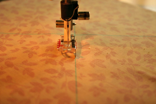 "Sew a scant 1/4"" on either side of the lines"