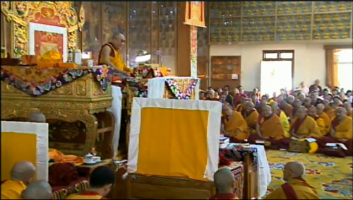 His Holiness the Great 13th Dalai Lama giving instructions to the Buddhist sangha, on his throne, 18 Great Stages of the Path Commentaries, webcast, Dharamasala, India by Wonderlane