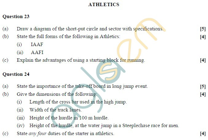 ICSE 2013 Class XII Physical Education Sample Paper
