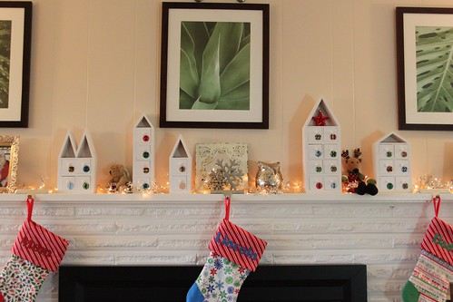 Mantle with Advent Village & Stockings