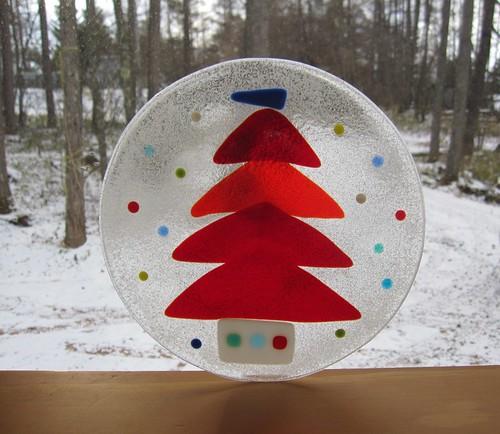 赤いツリーの飾り皿(直径185mm) 2012.12.4 by Poran111