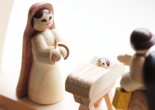 Hand carved wooden nativity scene-Mary and Baby Jesus