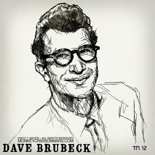 Artwork Illustration Portrait Sketch of Jazz Musician Dave Brubeck by Tom Mayer, San Diego