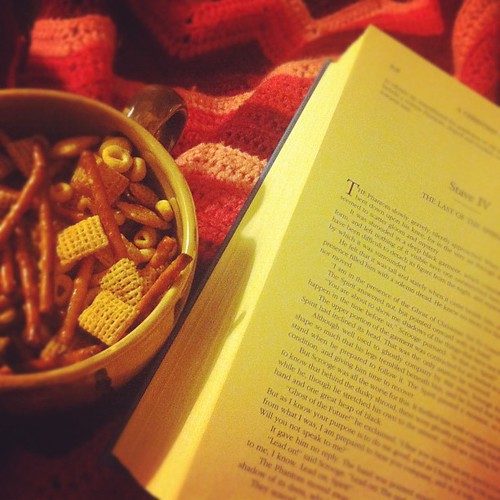 Afghan + Dickens + homemade chex mix.