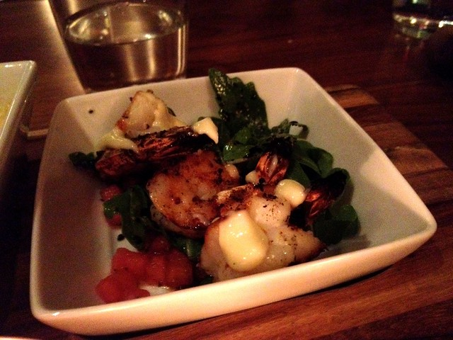 Seafood tapas trio 2/3 - shrimp cocktail with watermelon arugula salada
