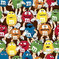 4my3boyz Fabrics M&M Funfetti Characters on Brown