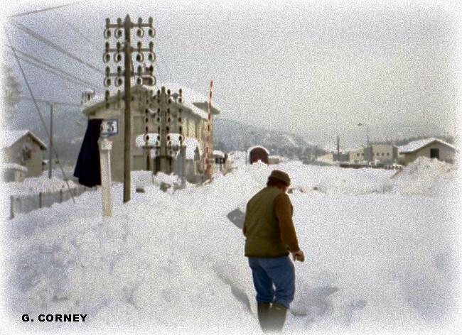 gare de Nurieux après l'épisode de neige de décembre 1990 météopassion