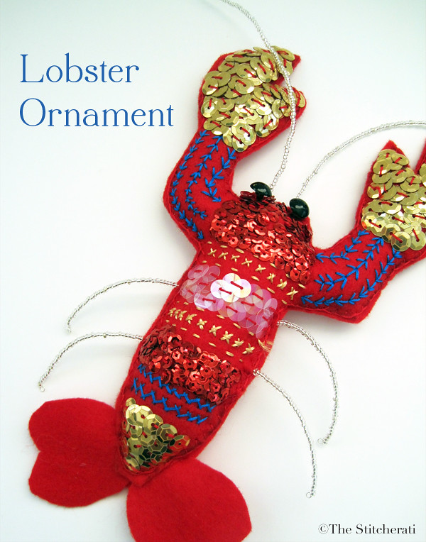 The Stitcherati lobster ornament