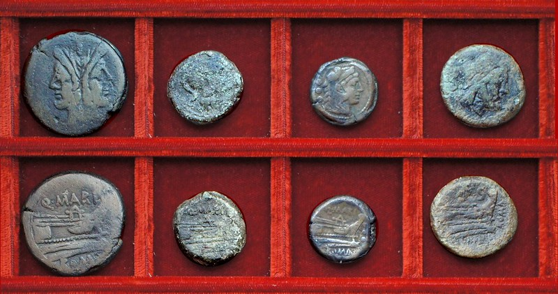 RRC 148 Q.MARI Maria bronzes, RRC 149 Ulysses L.MAMILI Mamilia semis, Ahala collection, coins of the Roman Republic (53)