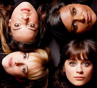 Mindy Kaling, Zooey Deschanel, Aubrey Plaza, and Dakota Johnson in Vanity Fair