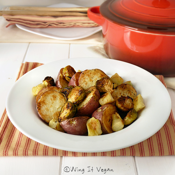 Roasted Potatoes, Brussels Sprouts, and Green Apple