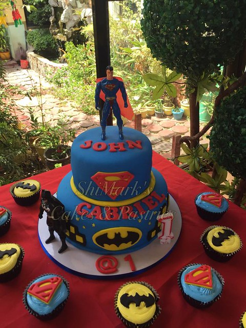 Batman and Superman Themed Cake by Juliet Tortosa Dela Cruz of ShiMark's Cakes and Pastries