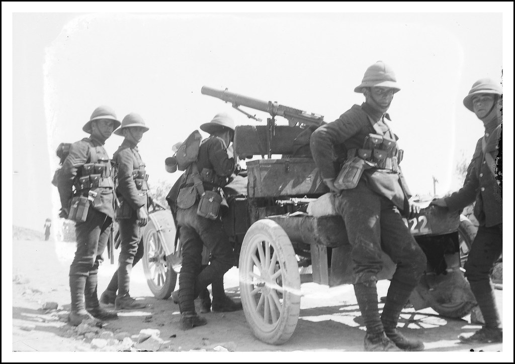 British soldiers  ( Quite possibly from the Alexandra, Princess of Wales's Own Yorkshire Regiment , later The Green Howards) with British Army Ford Model T vehicle with Lewis machine gun  in Palestine - circa   1920