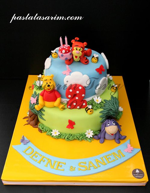winnie the pooh 2nd birthday cake - twins defne & sanem (Medium)