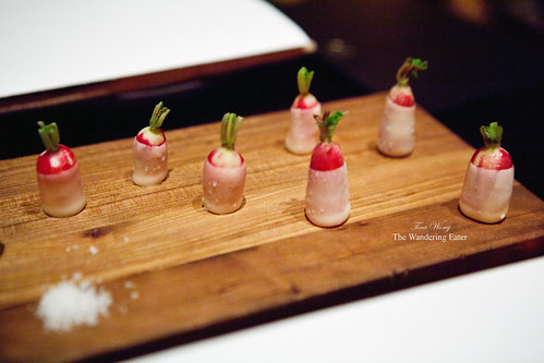 Radishes butter-dipped with a side of fleur de sel