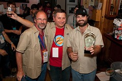 Denver Rare Beer Tasting IV presentation to the Flying Saucer Draught Emporium. Daniel Bradford, Rick Lyke and Sam Wynne.