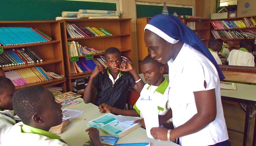 Library time with Evelyn Serwaa SSL at St Louis Jubilee School, Kentinkrono, Ghana