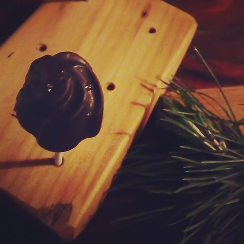 Duck liver and chocolate lollipop