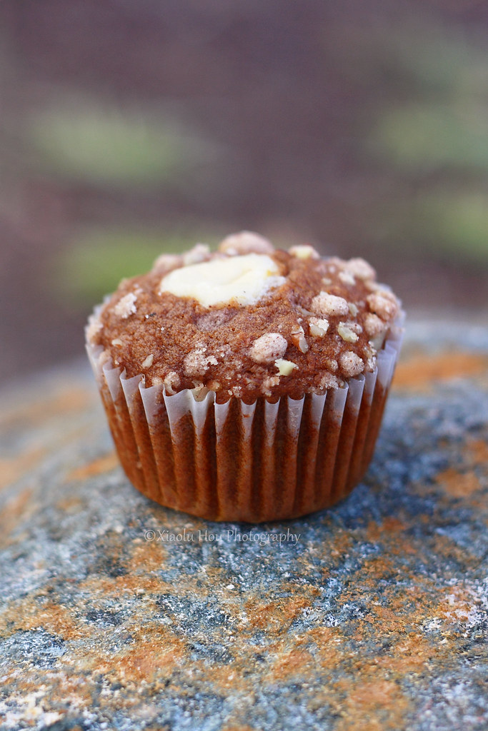 Pumpkin Spice Muffin with Cream Cheese Filling and Pecan Streusel