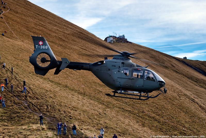 Swiss AF Eurocopter EC-635 T-365 at the Ebenfluh range