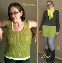 Green Mini Skirt Before & After