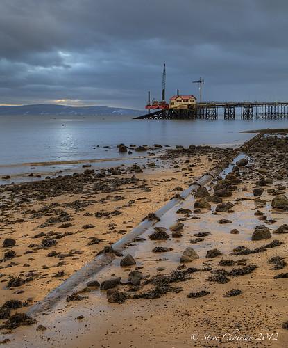 sea seaweed wet rain swansea wales clouds pier sand tide sunday pipe can mumbles 2012 thesundayclub stevechatman
