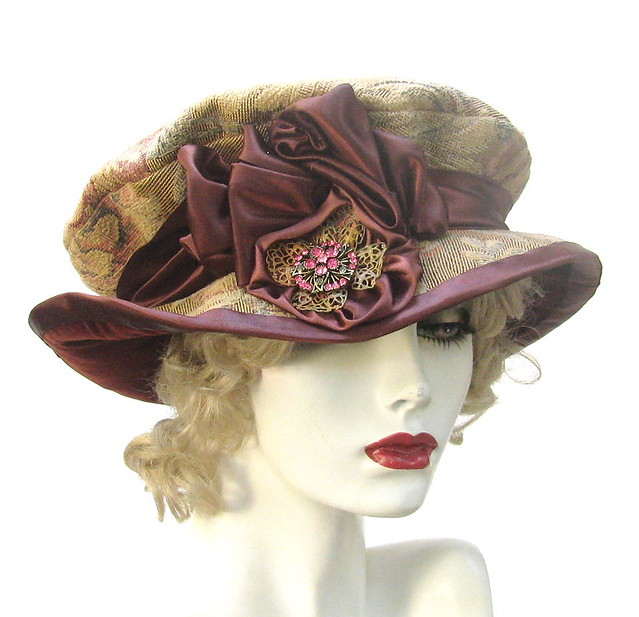 Discount Custom Made Vintage Victorian Medieval Style: Tudor Victorian Tapestry Hat