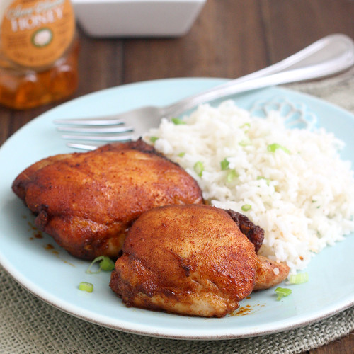Spicy Honey-Brushed Chicken Thighs | Tracey's Culinary ...