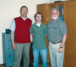 (Left to Right) Anatoly Kovalev, Thaddeus McCleary,  and Chris Moos in the building of the Odessa state  Economics University.