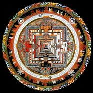 An example of a mandala, a  religious depiction made of  colored sand