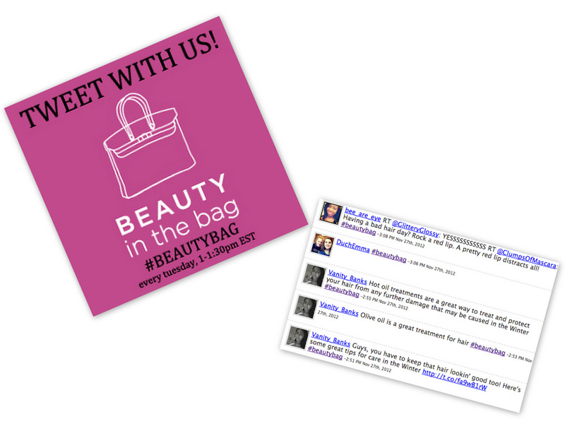 Join me for Beauty in the Bag's Weekly Twitter Chats!